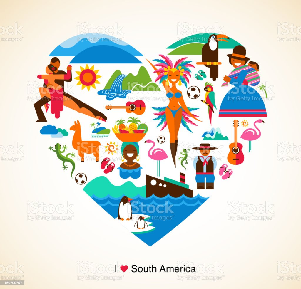 South America love - concept illustration with vector icons vector art illustration