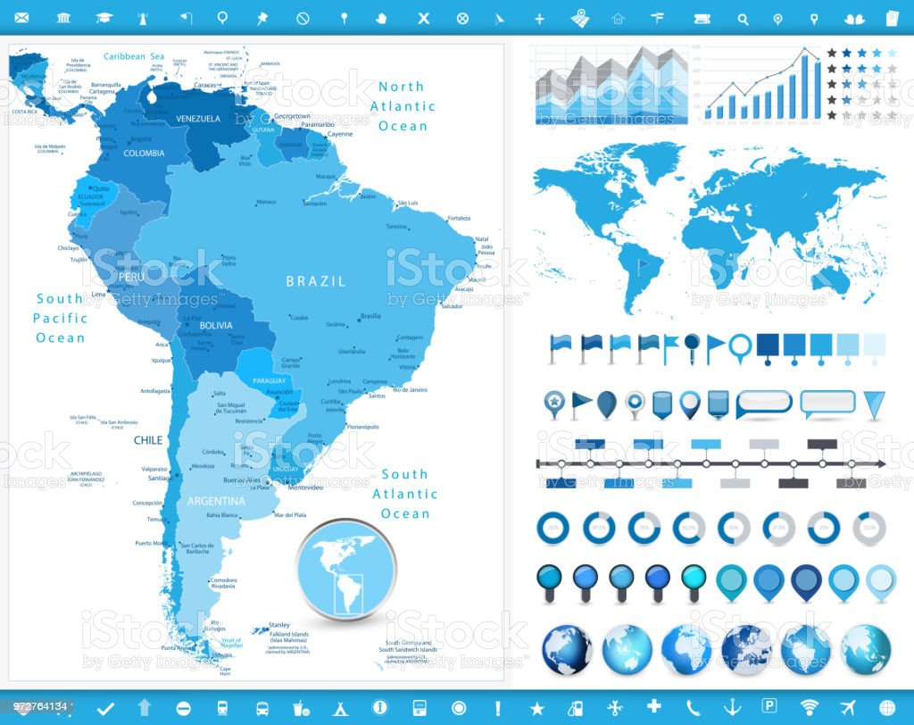 Caribbean Sea South America Map.South America Map And Infographic Elements Stock Vector Art More