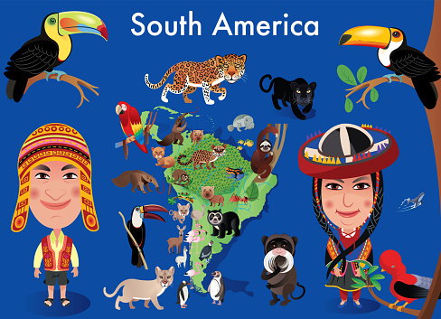 South America map and natives