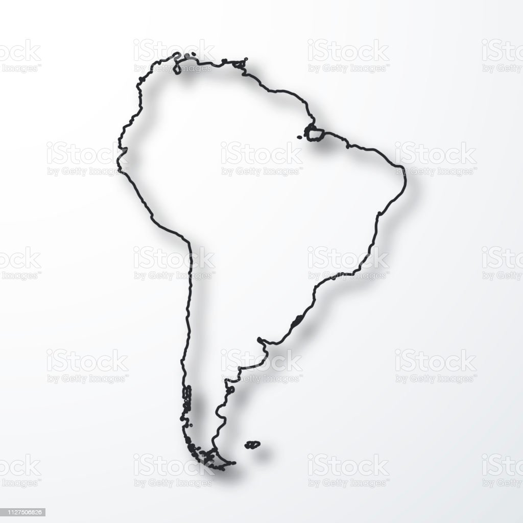 Image of: South America Map Black Outline With Shadow On White Background Stock Illustration Download Image Now Istock