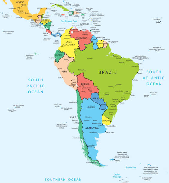 Royalty Free Latin America Map Clip Art, Vector Images ...