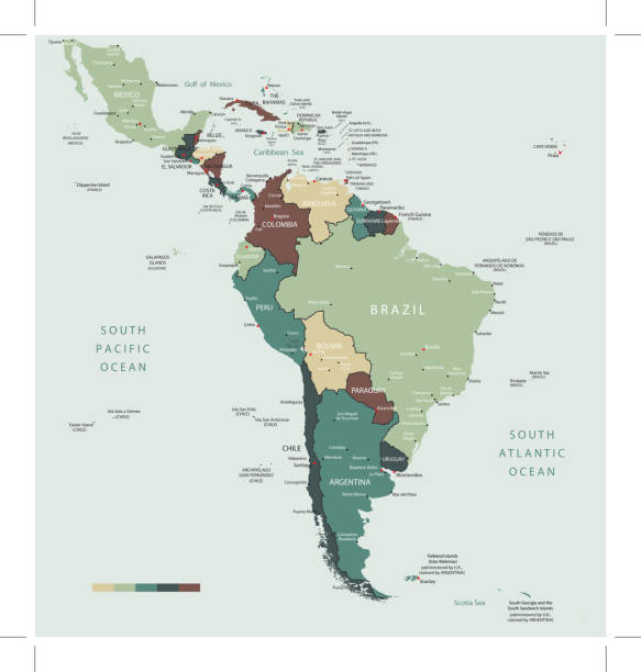 south america map countries and cities - south america maps stock illustrations