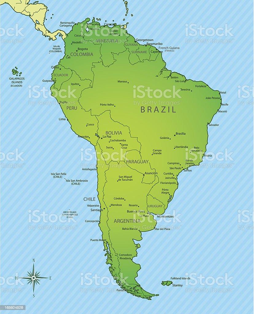Mapa America Del Sur Con Nombres.Ilustracion De America Del Sur Mapa Y Los Nombres De Las
