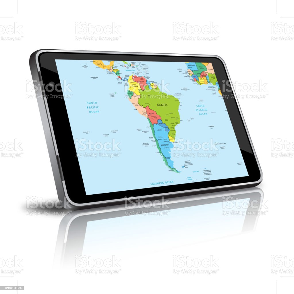 South America map in a digital tablet royalty-free stock vector art
