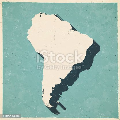 Map of South America in a trendy vintage style. Beautiful retro illustration with old textured paper and a black long shadow (colors used: blue, green, beige and black). Vector Illustration (EPS10, well layered and grouped). Easy to edit, manipulate, resize or colorize.