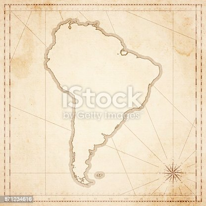 Map of South America in vintage style. Beautiful illustration of antique map on an old textured paper of sepia color. Old realistic parchment with a compass rose, lines indicating the different directions (North, South, East, West) and a frame used as scale of measurement.Vector Illustration (EPS10, well layered and grouped). Easy to edit, manipulate, resize or colorize. Please do not hesitate to contact me if you have any questions, or need to customise the illustration. http://www.istockphoto.com/portfolio/bgblue