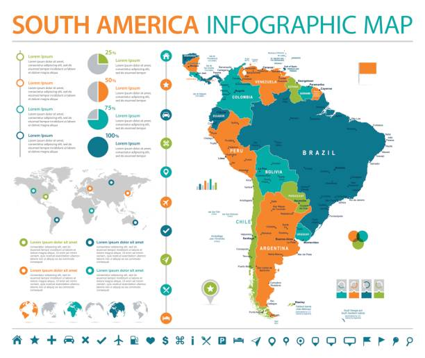 south america map - info graphic vector illustration - south america maps stock illustrations