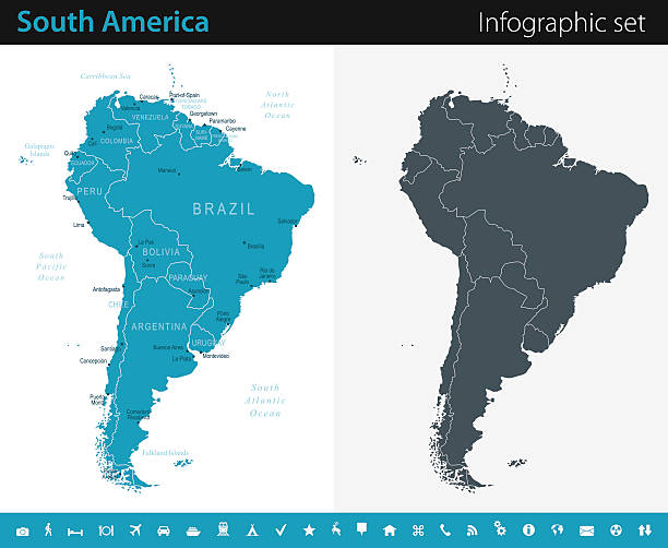 south america map - infographic set - south america maps stock illustrations