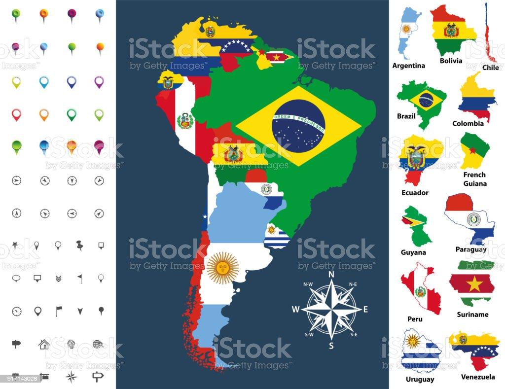 Lateinamerika Karte Länder.Südamerika Karte Gemischt Mit Länderflagge Vektorillustration Stock