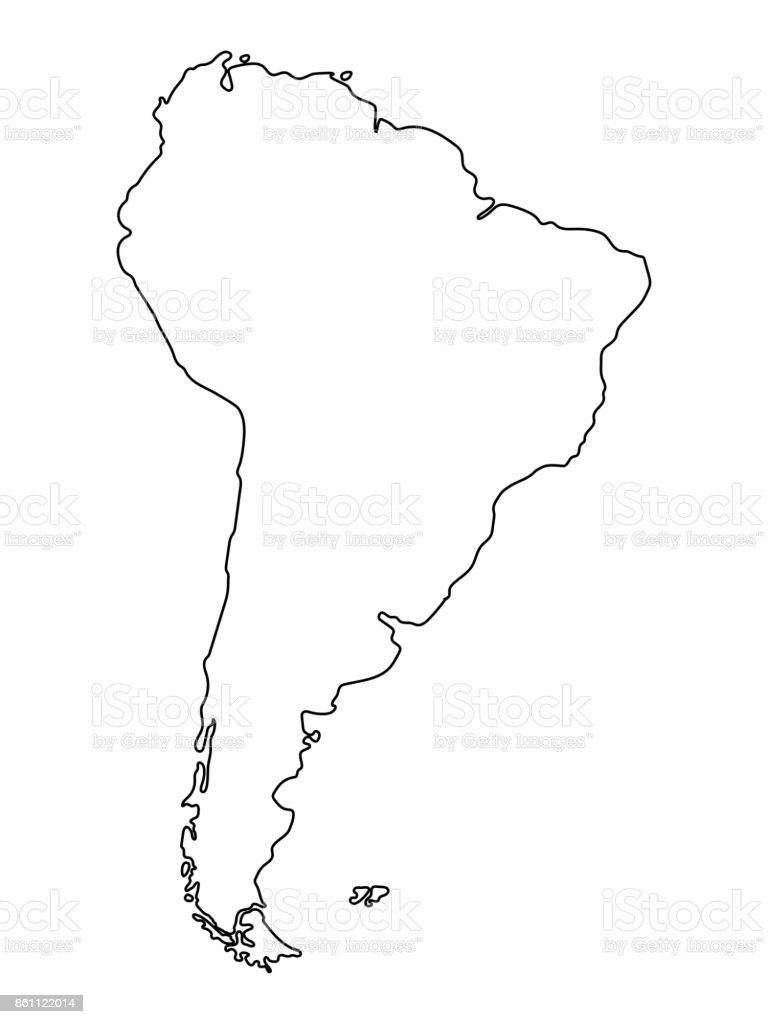 South America Map Outline Graphic Freehand Drawing On White