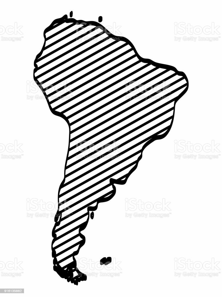 Map Of America Drawing.South America Map Outline Graphic Freehand Drawing On White