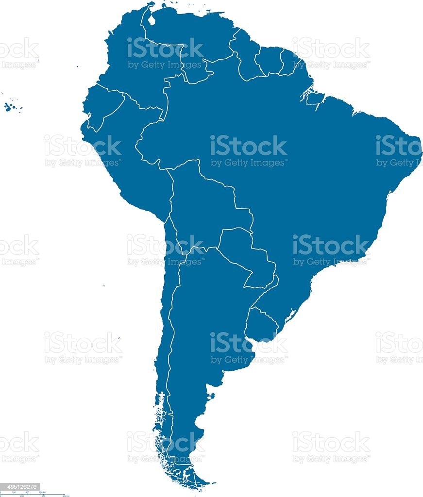 South America Map Outline vector art illustration