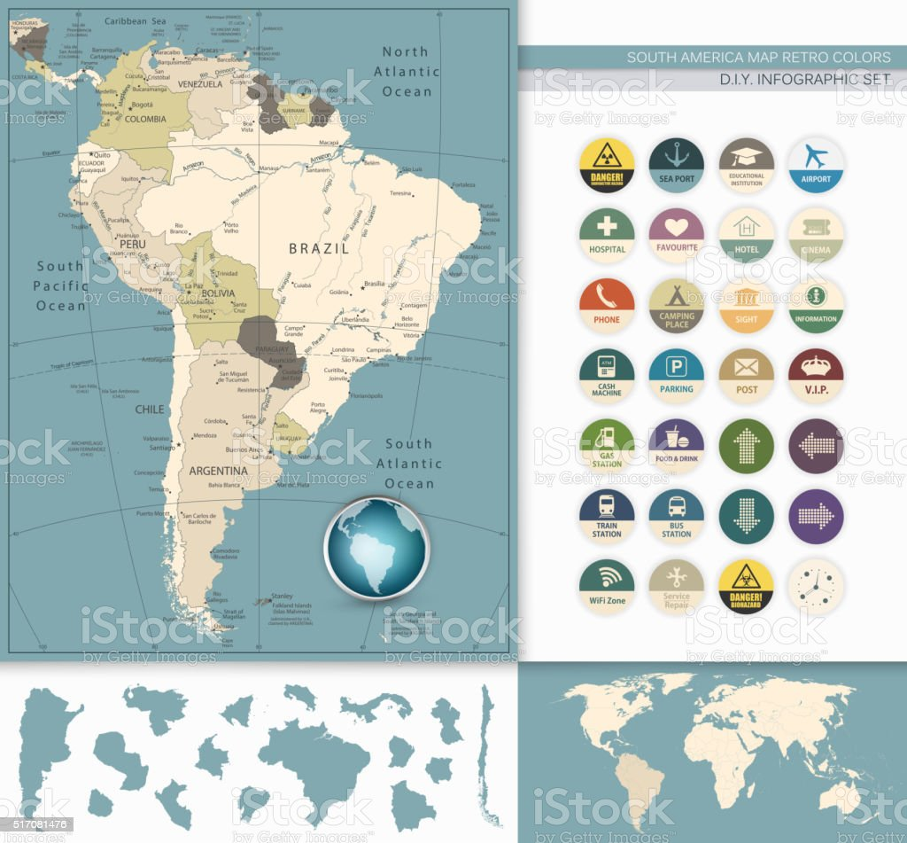 South America Map Retro Colors and Flat Icons vector art illustration