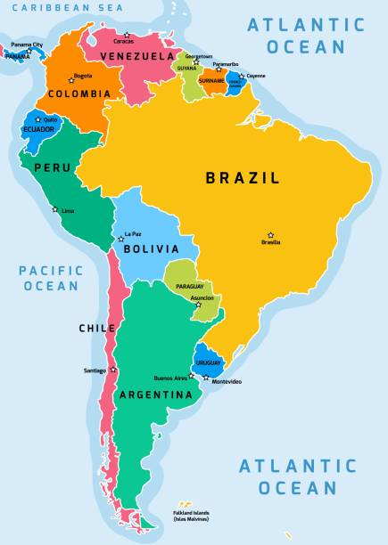 south america map - south america maps stock illustrations