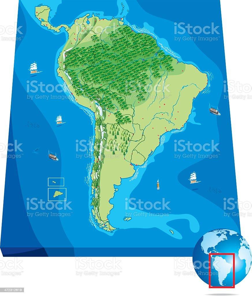 Mapa da América do Sul - ilustração de arte em vetor