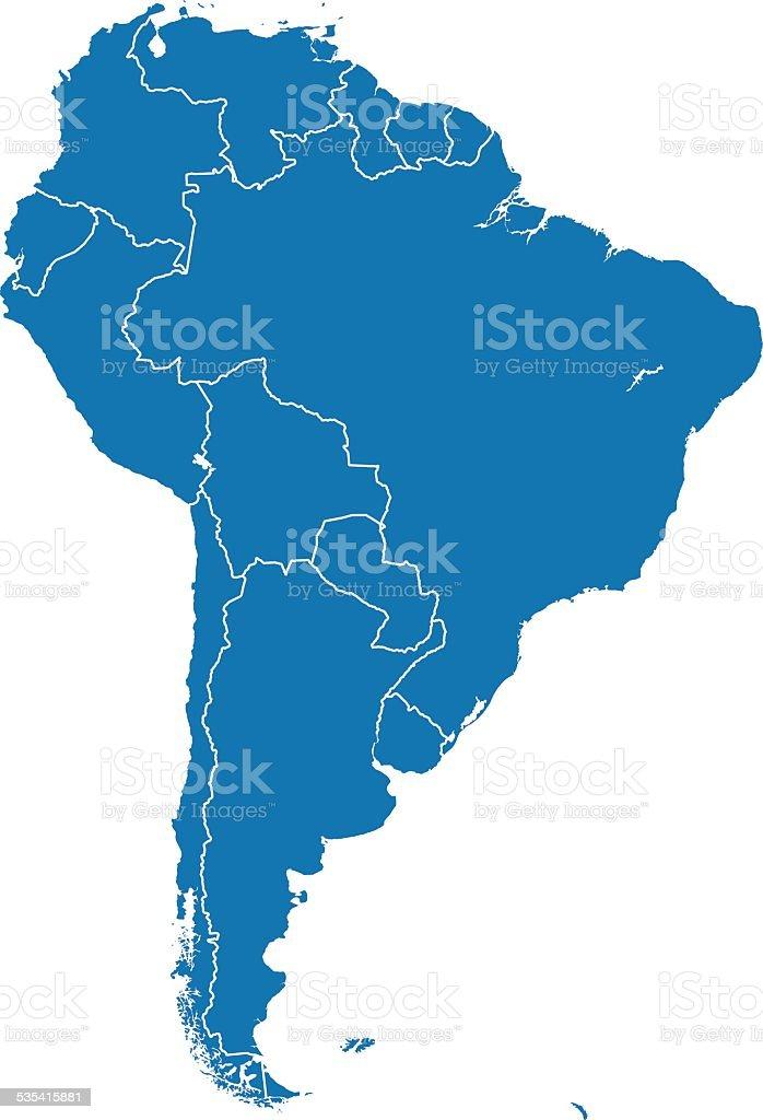América del Sur Mapa - ilustración de arte vectorial
