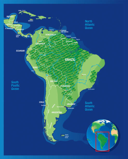 South America Map South America Map I have used  http://legacy.lib.utexas.edu/maps/world_maps/world_physical_2015.pdf http://legacy.lib.utexas.edu/maps/americas/south_america_ref_2010.pdf address as the reference to draw the basic map outlines with Illustrator CS5 software, other themes were created by  myself. amazon stock illustrations