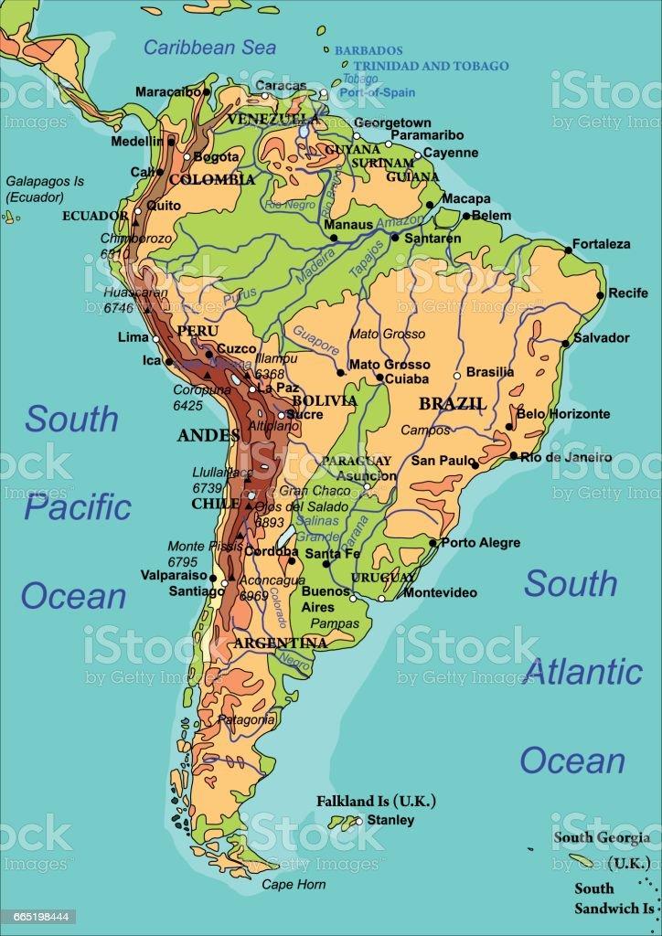 South America Map, vector vector art illustration