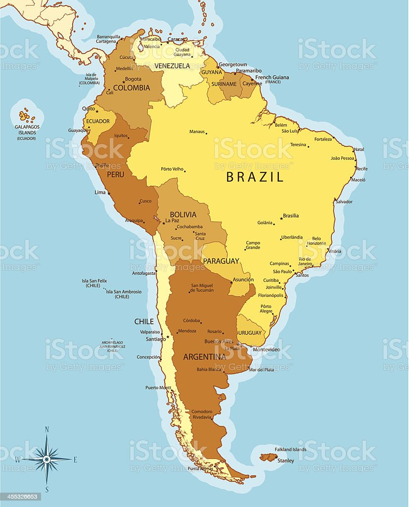 South America Map With Countries And Cities stock vector art