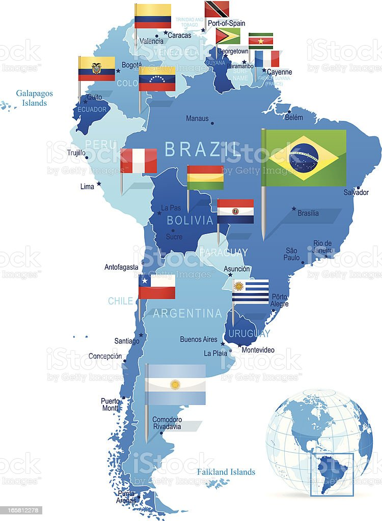 South America - map with flags vector art illustration
