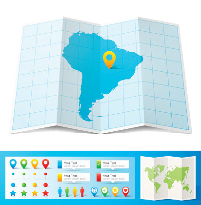 South America Map with location pins isolated on white Background