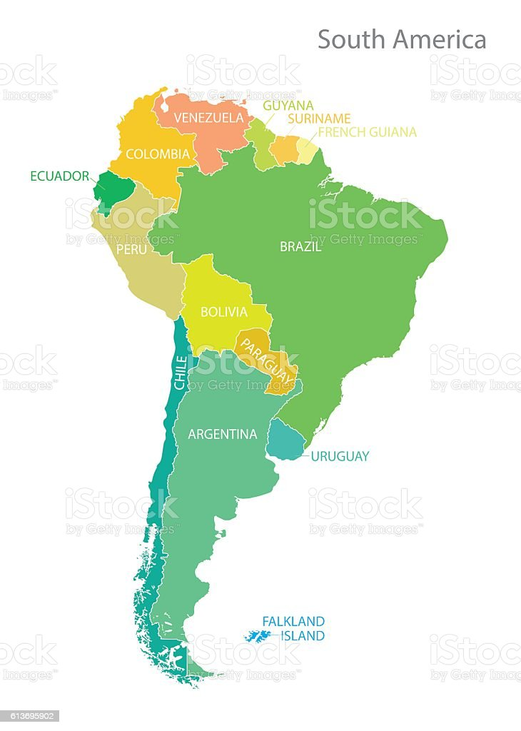 South america map with names vector art illustration
