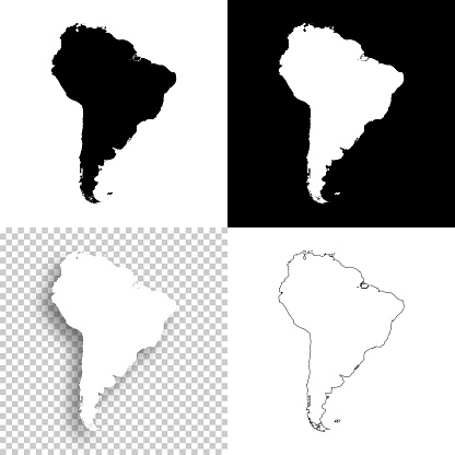 South America maps for design - Blank, white and black backgrounds