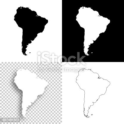 Map of South America for your own design. With space for your text and your background. Four maps included in the bundle: - One black map on a white background. - One blank map on a black background. - One white map with shadow on a blank background (for easy change background or texture). - One blank map with only a thin black outline (in a line art style). The layers are named to facilitate your customization. Vector Illustration (EPS10, well layered and grouped). Easy to edit, manipulate, resize or colorize. Please do not hesitate to contact me if you have any questions, or need to customise the illustration. http://www.istockphoto.com/portfolio/bgblue