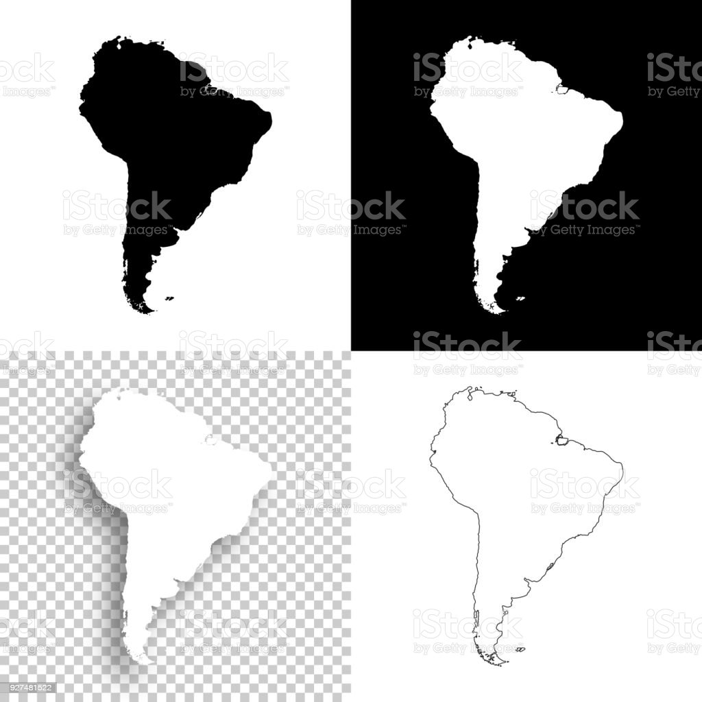 South America maps for design - Blank, white and black backgrounds vector art illustration
