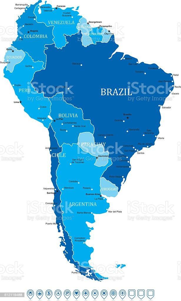 América del Sur Mapa de ilustración de vectores - ilustración de arte vectorial