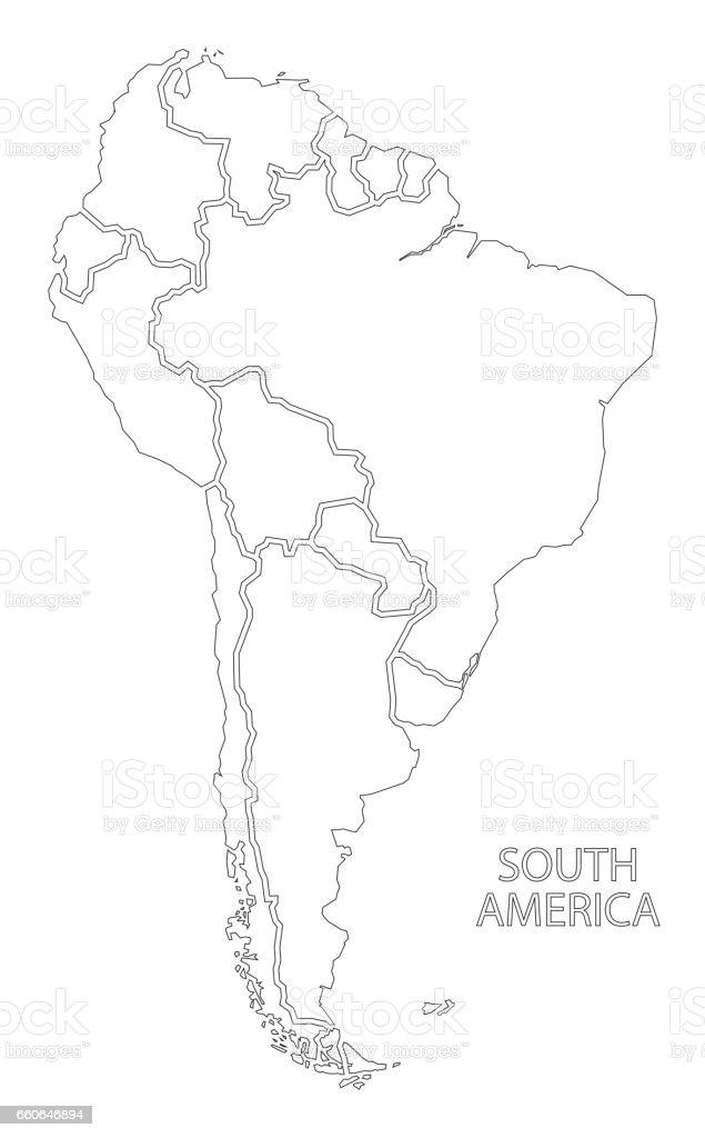 Carte Damerique Du Sud Avec Les Pays.Carte De Silhouette Muette De Lamerique Du Sud Avec Les Pays