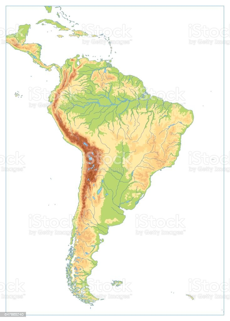 South America Physical Map Isolated On White Blank Map Stock Vector ...
