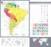 South America Political Map and Map Pointers