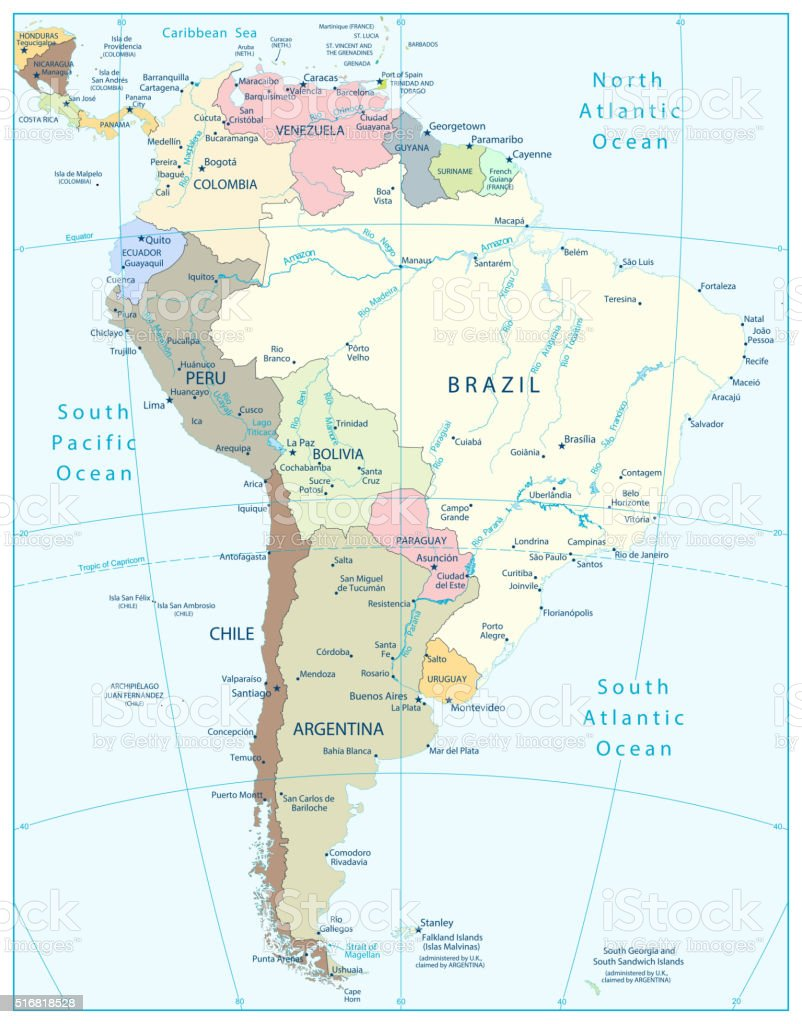 Image of: South America Political Map Stock Illustration Download Image Now Istock