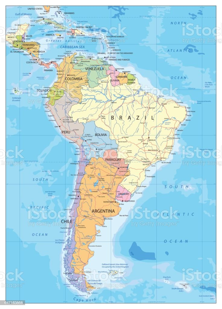 South America Political Map Stock Illustration Download Image Now Istock