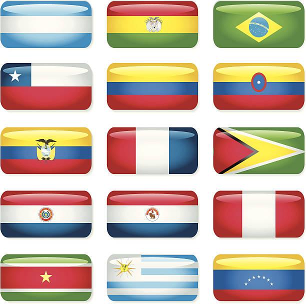 De América del Sur Rectangular Flags - ilustración de arte vectorial