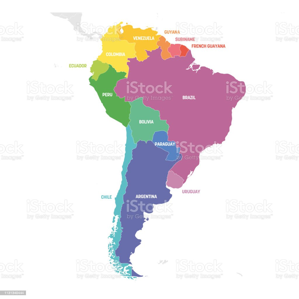 South America Region Colorful Map Of Countries In Southern America ...