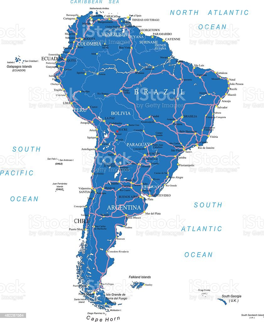 South America Road Map Stock Illustration - Download Image ...