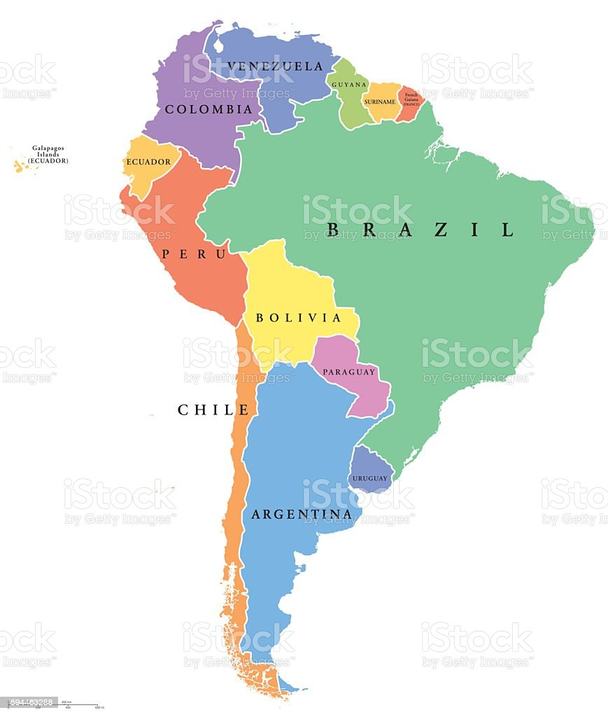 South America single states political map ベクターアートイラスト