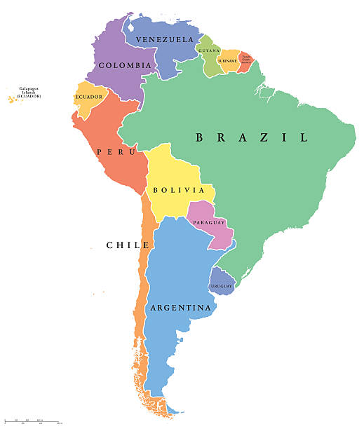 stockillustraties, clipart, cartoons en iconen met south america single states political map - colombia land