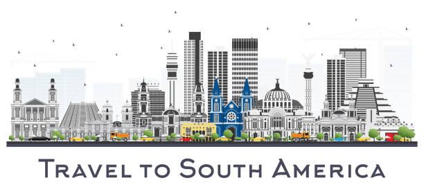 skyline von südamerika mit berühmten sehenswürdigkeiten, isolated on white background. - managua stock-grafiken, -clipart, -cartoons und -symbole