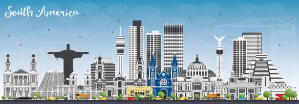 skyline von südamerika mit berühmten sehenswürdigkeiten. - managua stock-grafiken, -clipart, -cartoons und -symbole