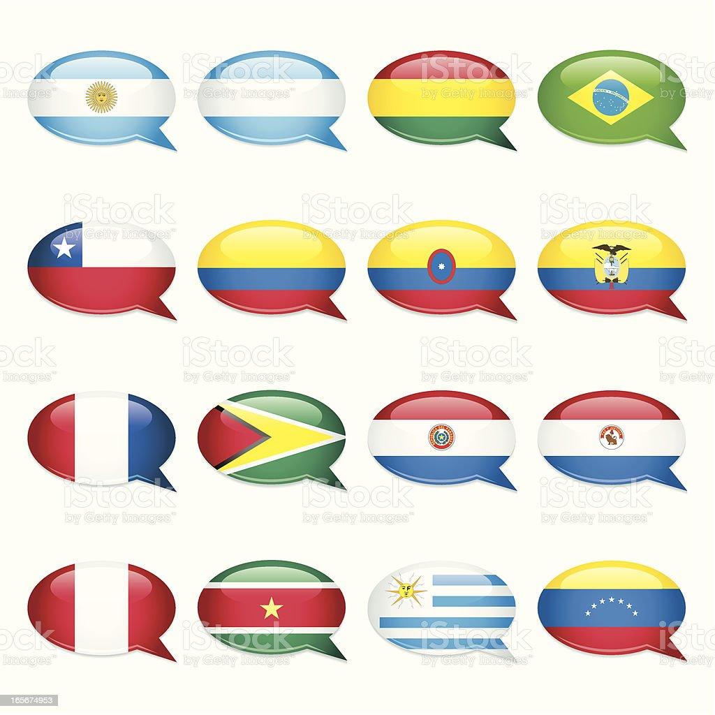 Discurso de bolha bandeiras da América do Sul - ilustração de arte em vetor