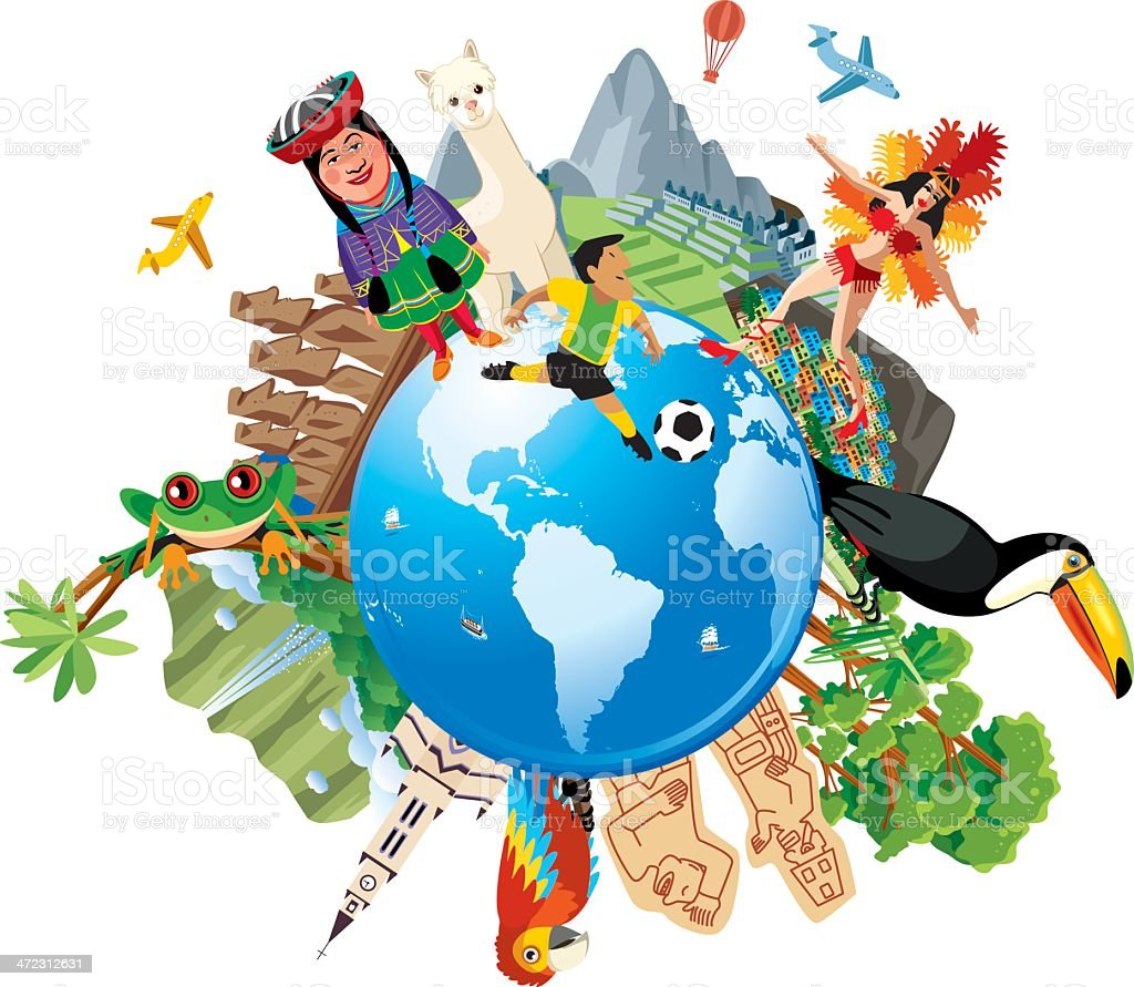 South America Travel vector art illustration
