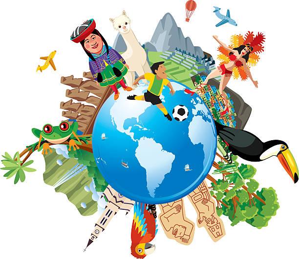 ilustraciones, imágenes clip art, dibujos animados e iconos de stock de américa del sur de viajes - viaje a sudamérica