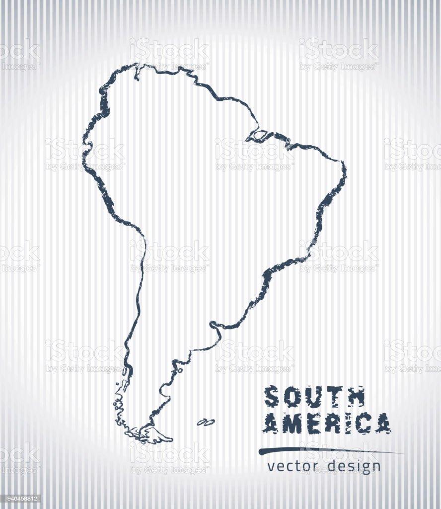 Güney Amerika Vektör Tebeşir Beyaz Bir Arka Plan üzerinde Izole