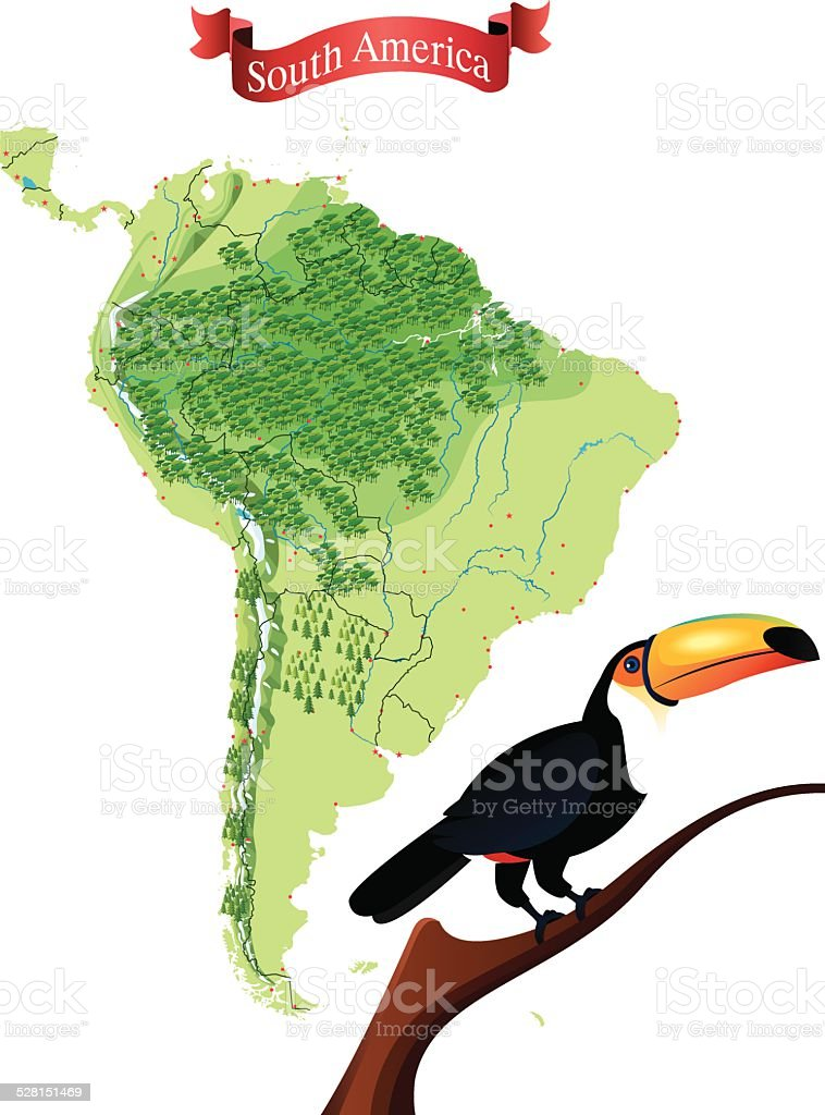 South America vector art illustration
