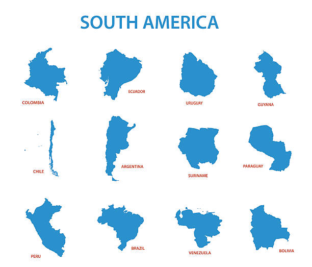 stockillustraties, clipart, cartoons en iconen met south america - vector maps of countries - colombia land