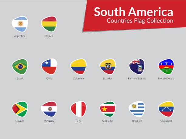 Südamerikanische Länder Flags Icon Sammlung – Vektorgrafik
