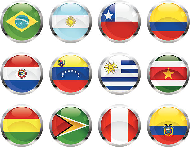 Banderas sudamericanas - ilustración de arte vectorial